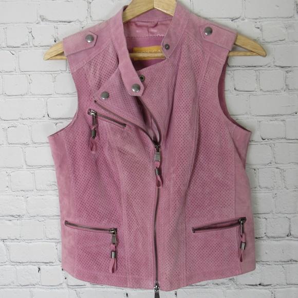 Crisca Jackets & Blazers - Crisca Leather Vest Womens Size 4 Pink Moto